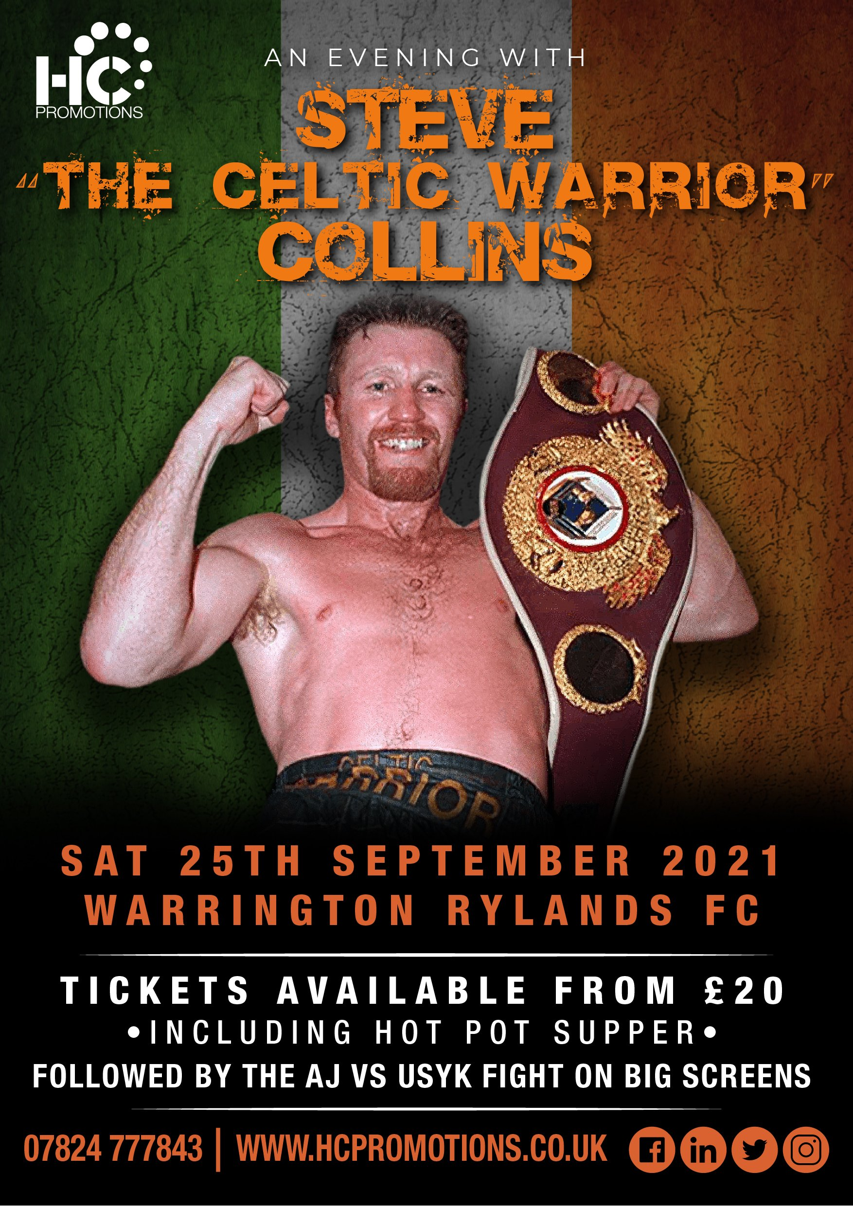 An evening with Steve Collins – Followed by the Big AJ vs Usyk fight